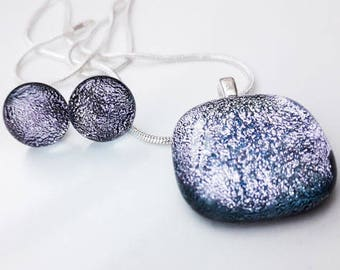 Silver dichroic jewellery set, pendant and earrings in silver dichroic glass with silver findings