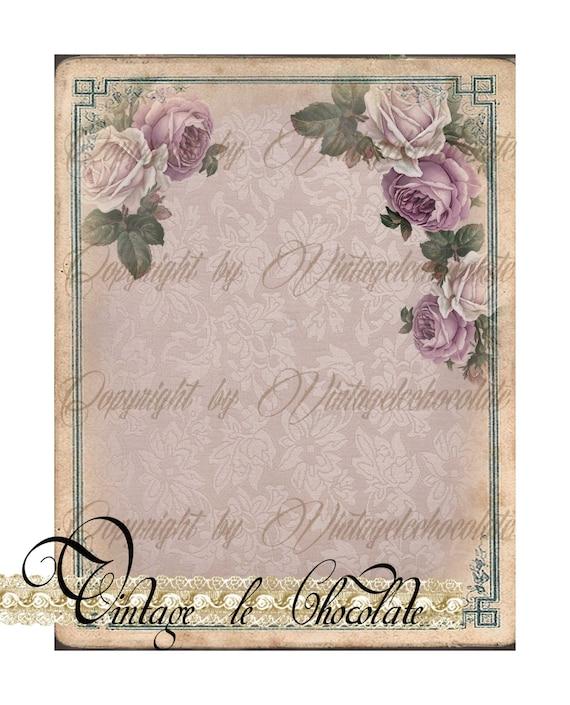 Digital Rose Paper Pink Vintage Lace Background Cottage Roses No 927 From VintageLeChocolate On