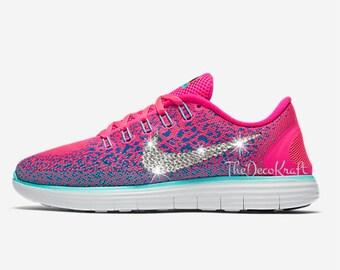 Womens Nike Free RN Distance Atomic Pink Custom Bling Crystal Swarovski  Sneakers, Running Shoes,