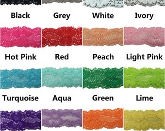 """Lace Elastic 1"""", Stretch Lace Elastic for Headbands, 1"""" Lace Elastic By the Yard, 5 or 10 yards - 16 Colors to Choose From"""