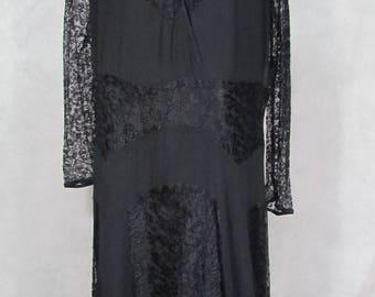 Large Size 1920s Dress Lace Black Roaring 20s Vintage Flapper Dress