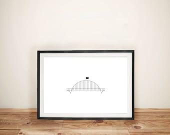 "Fremont Bridge - Portland, OR | Printable Artwork | 5"" x 7"""