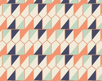 Seed packet in shadow from Cultivate by Bonnie Christine for Art Gallery Fabrics, navy, mint, coral, triangle
