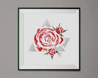Red Rose Art Print, Chic Wall Art, Abstract Red Flower Print, Modern Abstract Roses Home Decor