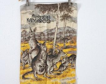 Vintage Linen Dish Hand Towel Kangaroo Australia