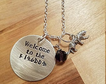 """The Walking Dead inspired- """"Welcome to the Kingdom"""" hand stamped necklace-Ezekiel"""