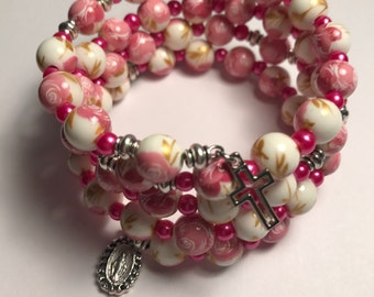 Rosary Bracelet Wrap,Pink Rosary Bracelet,Catholic Rosary Beads,Wrap Around Bracelet
