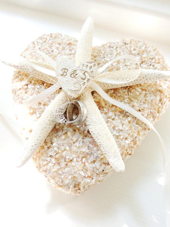 Starfish Shell Ring Pillow Beach Wedding Personalized Ring