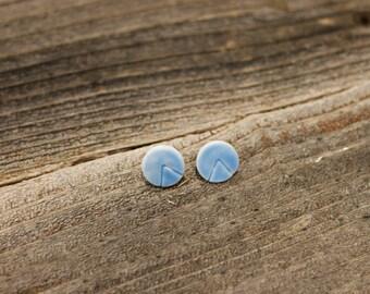 Light Blue Stud Earrings. Ceramic Earrings, Ceramic Stud Earrings, Handmade Earrings, Handmade Stud Earrings, Triangle Earrings