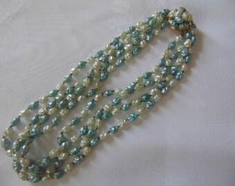 1950s blue 4 row plastic bead  necklace chic retro vintage pale blue cream