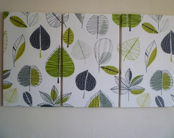 Amazing Big Lime Green Fabric Wall Art Funky Retro Designer Cotton Canvas Weight  Tryptich Picture Hanging