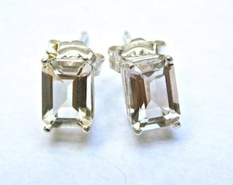 5x7 mm - Octagon Cut Faceted NY Herkimer Diamond Quartz Crystal Stud Earrings - Herkimer Diamond Jewelry - Herkimer Jewelry - Herkimer