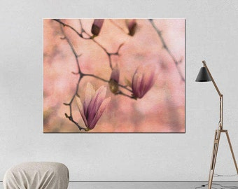 Magnolia wall art, large floral canvas print, flower photography, pink peach living room wall decor oversized artwork, nature gallery wrap