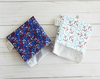 lunch bags - lunch bags for women - reusable bags - set of reusable snack bags - nautical gifts - set of snack baggies - reusable lunch
