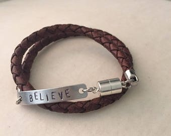 Leather double wrap silver handstamped bracelet