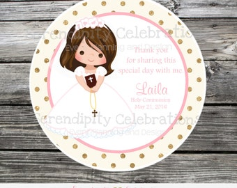 First Holy Communion, Baptism, Confirmation, Religious, Set of 12 Personalized Favor Tags, Stickers, Thank You Tag, Pink Gold, Cross, Bible,