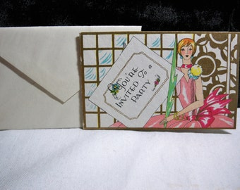 Fantastic vintage 1920's-30's party invitation, Art Deco Flapper Lady lots of gold ,hand colored unused with envelope 1920's-30's