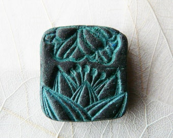 Flower ceramic raku green greenhouse gray unique handmade Cabochon.