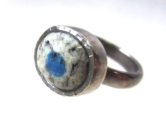 K2 Blue cabochon size 8 sterling silver ring, natural blue eye ring