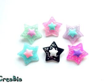 Kawaii star brooch pin, Japanese fashion, Fairy kei, pastel goth, magical girl, resin brooch, Harajuku, kawaii accessories, glitter stars