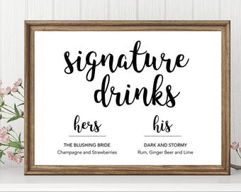 Signature Drink Sign | Wedding Signs | His and Hers Signs | Wedding Signs Printable | Signature Drink Printable | Edit on your own!