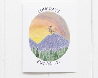 Graduation Card / Congratulations Card / Bighorn Sheep Card / Graduation Gifts / Graduate / High School Graduation / Funny Graduation Card