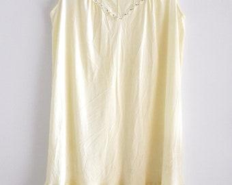 Vintage 60s Pale Yellow Babydoll Nightgown, Sheer Lingerie Sleepwear