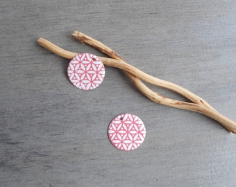 Set of 4 round sequins, white and dusty pink