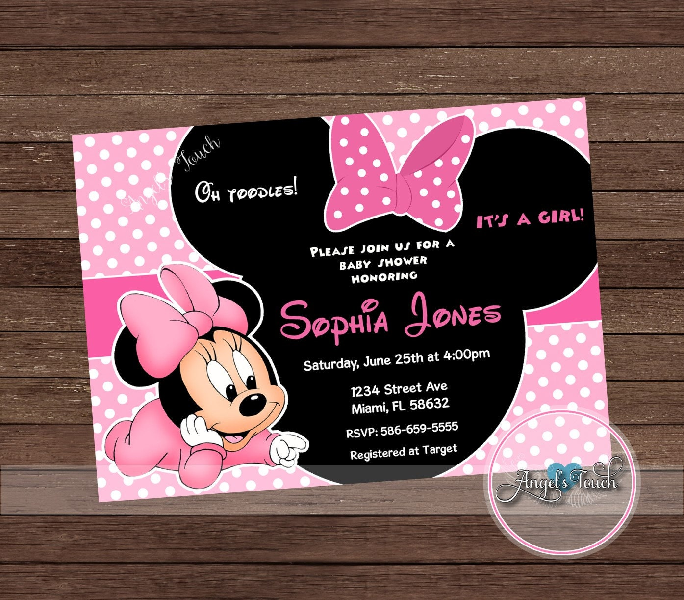 Minnie Mouse Baby Shower Invitation, Minnie Mouse Baby Shower, Pink ...