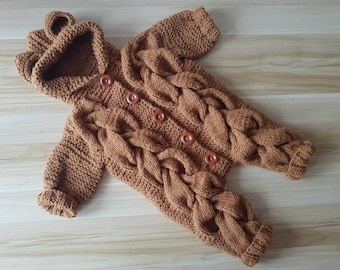 READY TO SHIP Knitted Baby Onesie Bear Jumpsuit Bodysuit Unisex Braids Handmade Animal Romper Pattern Kids Knitwear Newborn Autumn