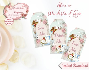 Alice in Wonderland Tags, Eat Me, Drink Me, Printable Tags, Favors Tea party Mad Hatter Digital Download