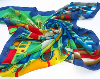Bright Hundertwasser silk scarf. Rainbow scarf Hand painted silk scarf in red, green, blue painted silk. Batik scarf silk painting. Shawl