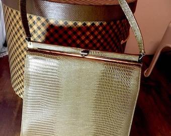 Vintage 1950s 60s Naturalizer Brown Reptile Handbag Purse 50s 1960s Top Handle Bag Snake Skin