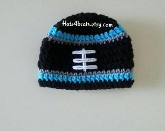 Baby Carolina Panthers Hat, Crochet Panthers Hat, Carolina Panthers Football Hat, Newborn Panthers Photo Prop, Crochet Football Hat, Baby