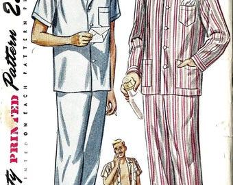 "Vintage 1950's 50s Sewing Pattern Men's Pajamas Pyjamas PJs Size Medium Chest 38""-40"""