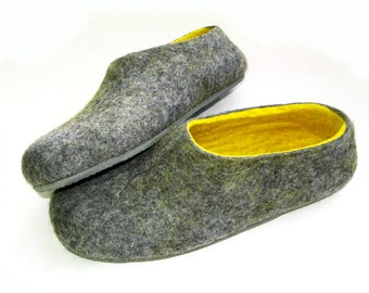 Black Friday Sale - Gray Sole Felt Slippers Gray Yellow. Custom made. Womens sizes. Non Slip Outdoors Indoors
