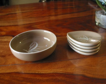 Beautiful Vintage Winfield Hand Crafted Desert Dawn Peanut Bowl And Set of Four  Ashtrays