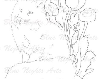 Digital Colouring Little Garden Fox