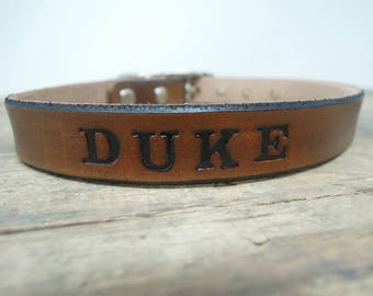 Brown Leather Dog Collar - Personalized Dog Collars -  Small Dog Collars