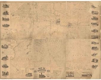 Indiana county map Etsy