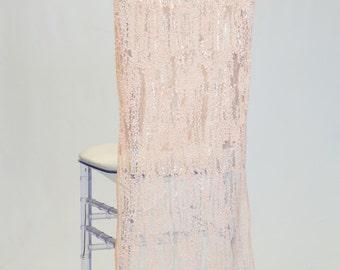 Blush Glitz Sequins Chiavari Chair Cover