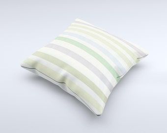 The Shades of Green Vertical Stripes ink-Fuzed Decorative Throw Pillow