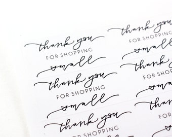 Thank you for shopping small - handlettered sticker - small business stickers - etsy stickers - thank you stickers
