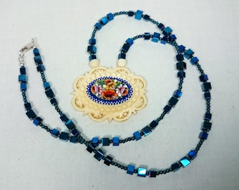 Vintage Celluloid Micro Mosaic Italian Pendant Necklace with Blue Hematite Chain