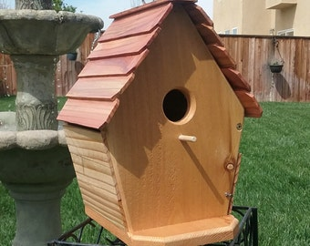 Handcrafted cedar birdhouse  #104 FREE SHIPPING