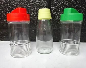 Retro Vintage Glass Bottles with Plastic Screw Top Lids / CO OP / UGB / Milk Bottle / Glass Bottle / Kitchen Decor / Collectable / Vintage