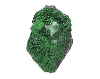 Uvarovite Sparkly forest green Garnet Gem Crystals on green garnet Druzy on chromite matrix Stone, Small Mineral Specimen, Focal Gemstone