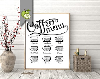 Coffee sign, printable, kitchen art, cafe art, coffee menu, dinning room, kitchen printable, espresso, cappuccino, cafe, breakfast room art