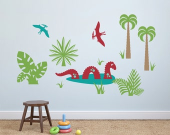 Dinosaur Wall Decal Sea Monster & Pterodactyls (Pack of 3) Dino Nursery Theme Wall Stickers Loch Ness (MEDIUM, SMALL SIZES)