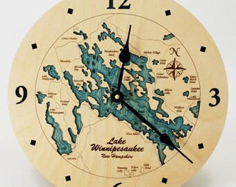 Lake Winnipesaukee 12 inch Wall Clock. FREE SHIPPING Lake Winnie. Wooden clock. Nautical Clock. Nautical Gift. New Hampshire. Winnepesaukee